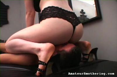 Rideem cowgirl. When she gets done smothering him with her butt, he gets a taste of her boobs as they choke off his breathing